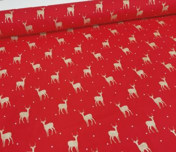 Gold Sparkly Reindeers on Red by Rose & Hubble Extra Wide 100% Cotton