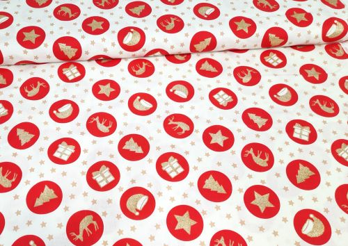 Christmas Red Circles on Ivory by Rose & Hubble Extra Wide 100% Cotton