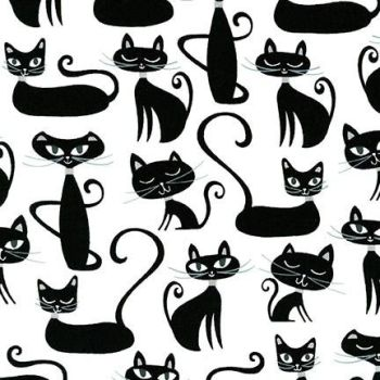 Whiskers & Tails Cats Sophisticate Silhouette Cats by Robert Kaufman Fabrics 100% Cotton