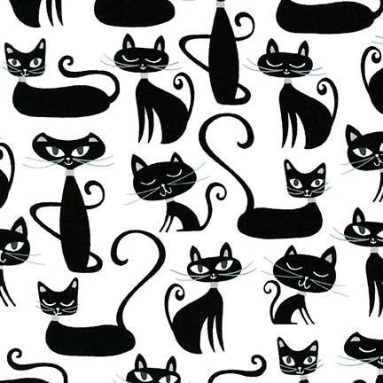 Whiskers & Tails Cats Sophisticate Silhouette Cats by Robert Kaufman Fabric