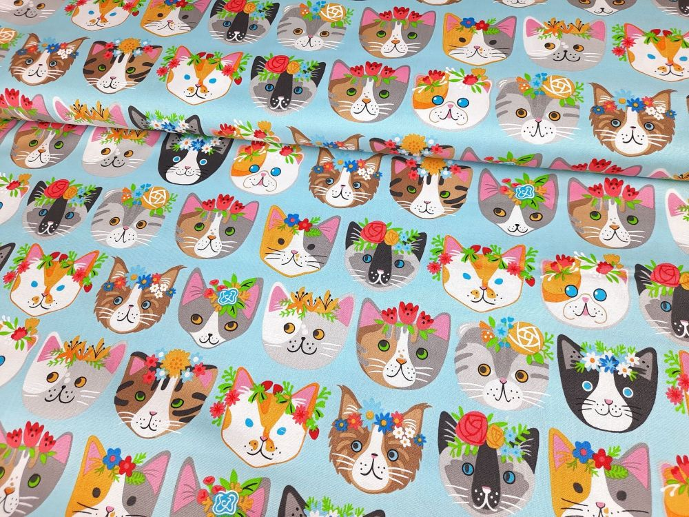 Whiskers & Tails Cats Faces & Flowers by Robert Kaufman Fabrics 100% Cotton