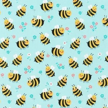 Bees Knees Bumble Bee Spring Blue by Robert Kaufman Fabrics 100% Cotton
