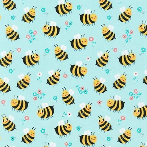 Bees Knees Bumble Bee Spring Blue by Robert Kaufman Fabrics 100% Cotton