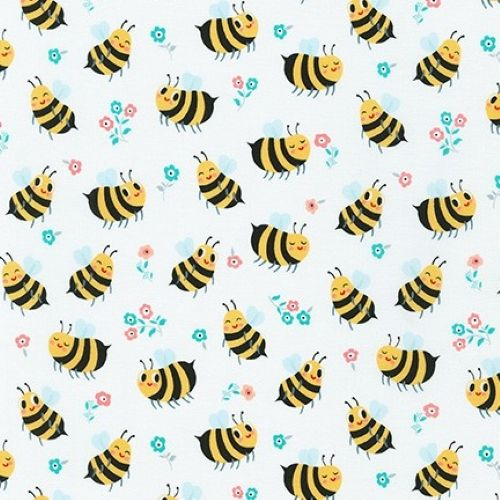 Bees Knees Bumble Bee White by Robert Kaufman Fabrics 100% Cotton