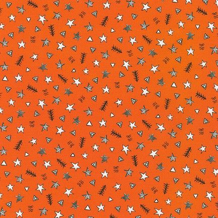 Neighbourhood Pals Orange Stars Triangles by Robert Kaufman Fabrics 100% Co