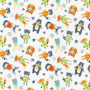 Neighbourhood Pals White Raccoon Owl Fox Bear Bunny by Robert Kaufman Fabrics 100% Cotton