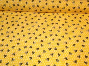 Honeycomb Bees on Honey Yellow by Rose & Hubble 100% Cotton