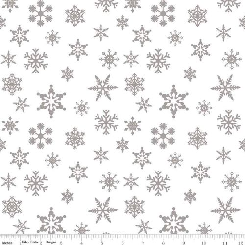 Snowflake Sparkle Silver by Riley Blake Designs 100% Cotton 27 x 109cm