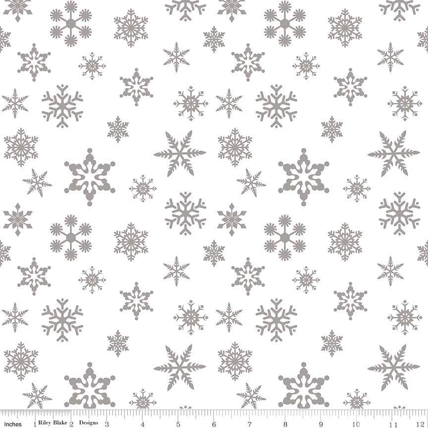 Snowflake Sparkle Silver by Riley Blake Designs 100% Cotton 27 x 109cm