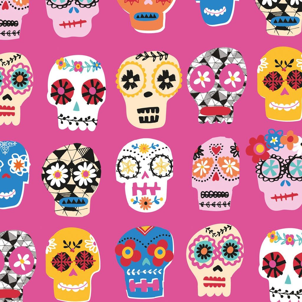 Fiesta Day of the Dead Skulls Pink by Dashwood Studio 100% Cotton