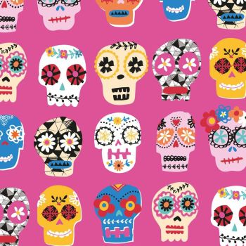 Fiesta Day of the Dead Skulls Pink by Dashwood Studio 100% Cotton 47 x 56cm
