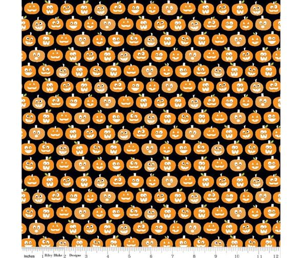 Halloween Magic Glow Pumpkins on Black by Riley Blake Designs 100% Cotton 4
