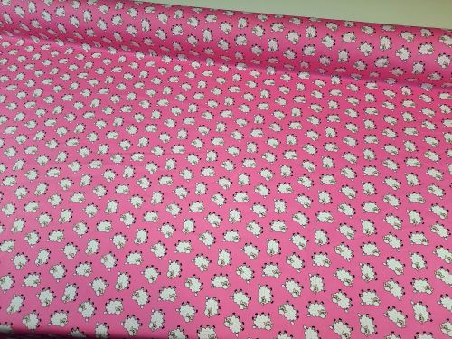 Fluffy Sheep on Pink by Rose & Hubble 100% Cotton
