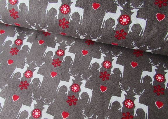 Christmas Reindeer on Silver Grey by Rose & Hubble 100% Cotton 32 x 135 cm
