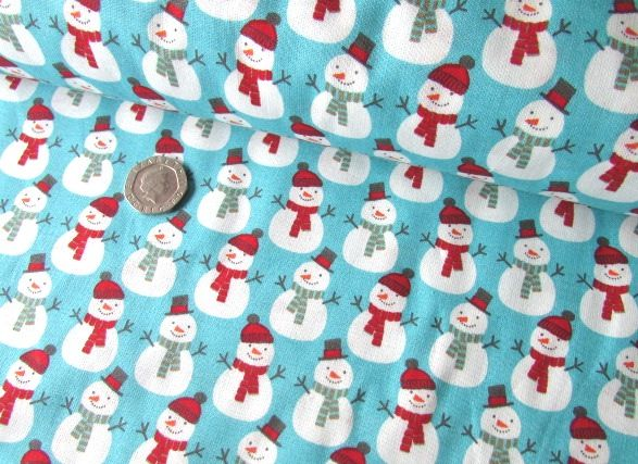 Christmas Snowmen on Blue by Rose & Hubble 100% Cotton Extra Wide 41 x 135
