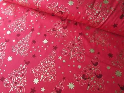 Gold Christmas Trees on Red by Rose & Hubble 100% Cotton Extra Wide 48 x 13