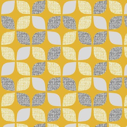 Nesting Birds Leaves Mustard Extra Wide Linen Mix by Dashwood Studio 32 x 1