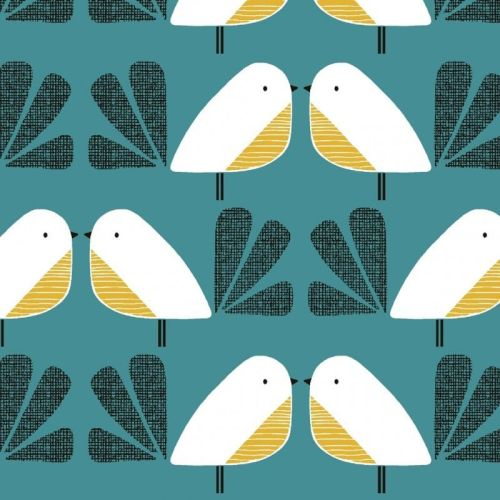 Nesting Birds Teal Extra Wide Linen Mix by Dashwood Studio