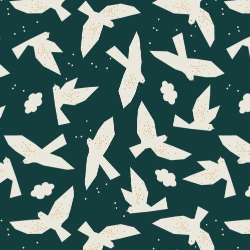 Midnight Garden Birds Extra Wide Linen Mix by Dashwood Studio