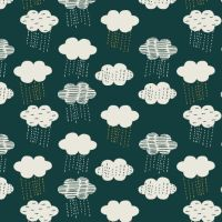 Midnight Garden Clouds Extra Wide Linen Mix by Dashwood Studio