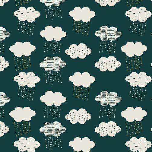 Midnight Garden Clouds Extra Wide Linen Mix by Dashwood Studio