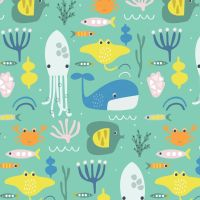 Habitat Ocean Animals by Dashwood Studio 100% Cotton