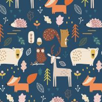 Habitat Woodland Forest Animals by Dashwood Studio 100% Cotton