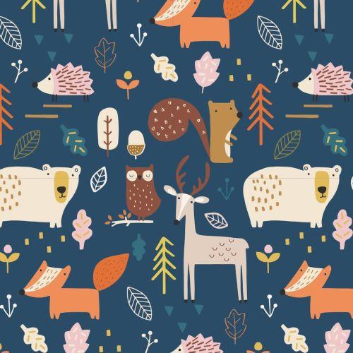 Habitat Woodland Forest Animals by Dashwood Studio 100% Cotton