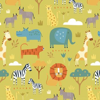 Habitat Savannah Safari Animals by Dashwood Studio 100% Cotton