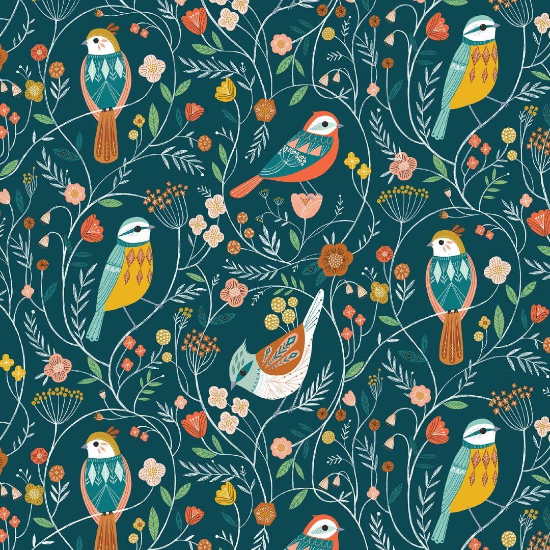 Aviary Birds Blue by Dashwood Studio 100% Cotton
