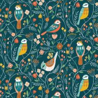 Aviary Birds Blue by Dashwood Studio 100% Cotton