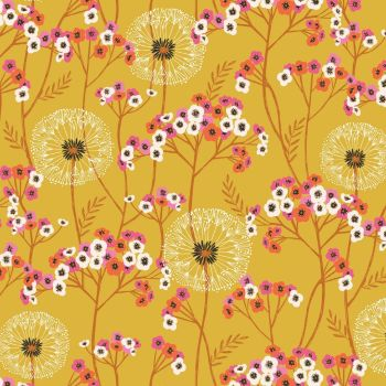 Aviary Dandelions Gold by Dashwood Studio 100% Cotton