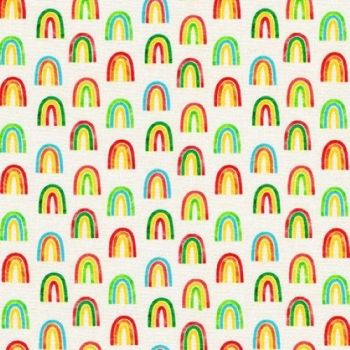 Chilli Smiles Rainbows on Ivory by Robert Kaufman Fabrics 100% Cotton