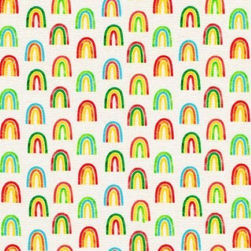 Chilli Smiles Rainbows on Ivory by Robert Kaufman Fabrics 100% Cotton