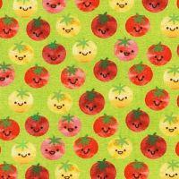 Chilli Smiles Tomato on Lime by Robert Kaufman Fabrics 100% Cotton