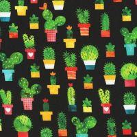 Chilli Smiles Cactus on Black by Robert Kaufman Fabrics 100% Cotton