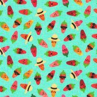 Chilli Smiles Chillies on Aqua Blue by Robert Kaufman Fabrics 100% Cotton