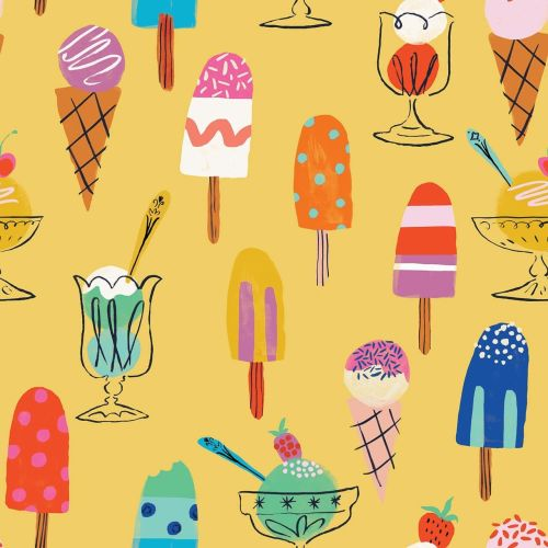 Lazy Days Ice Lollies & Ice Creams by Dashwood Studio 100% Cotton