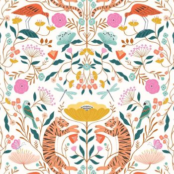 Our Planet Animals & Flowers on White by Dashwood Studio 100% Cotton