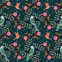 Our Planet Birds on Black by Dashwood Studio 100% Cotton