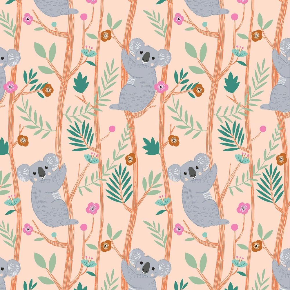 Our Planet Koalas on Peach by Dashwood Studio 100% Cotton