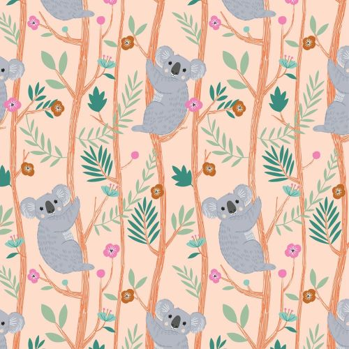 Our Planet Koalas on Peach by Dashwood Studio 100% Cotton