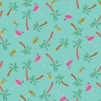 Lazy Days Tropical Pineapples & Flamingos by Dashwood Studio 100% Cotton