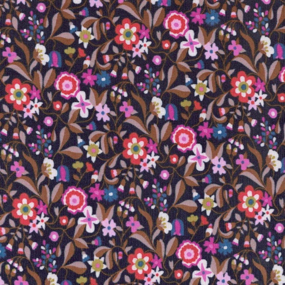 Kaleidoscope Cord Black Floral Needlecord Corduroy 21 Wale by Dashwood Stud