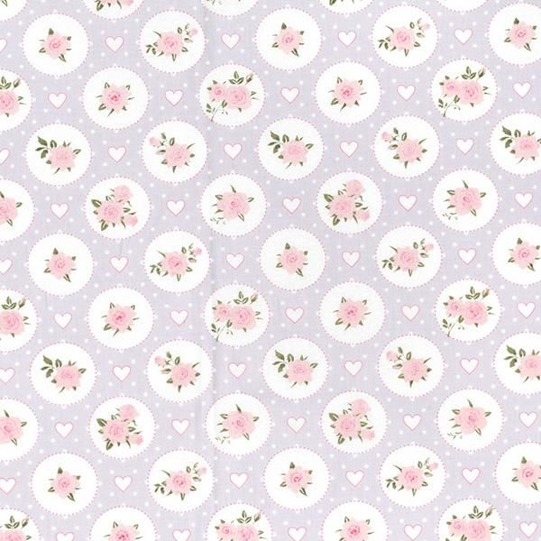 Willow Rose Vintage Floral Lilac by John Louden 100% Cotton