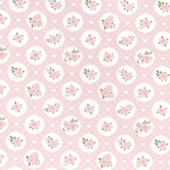 Willow Rose Vintage Floral Pink by John Louden 100% Cotton
