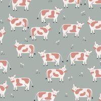 Farm Days Cows on Grey by Dashwood Studio 100% Cotton