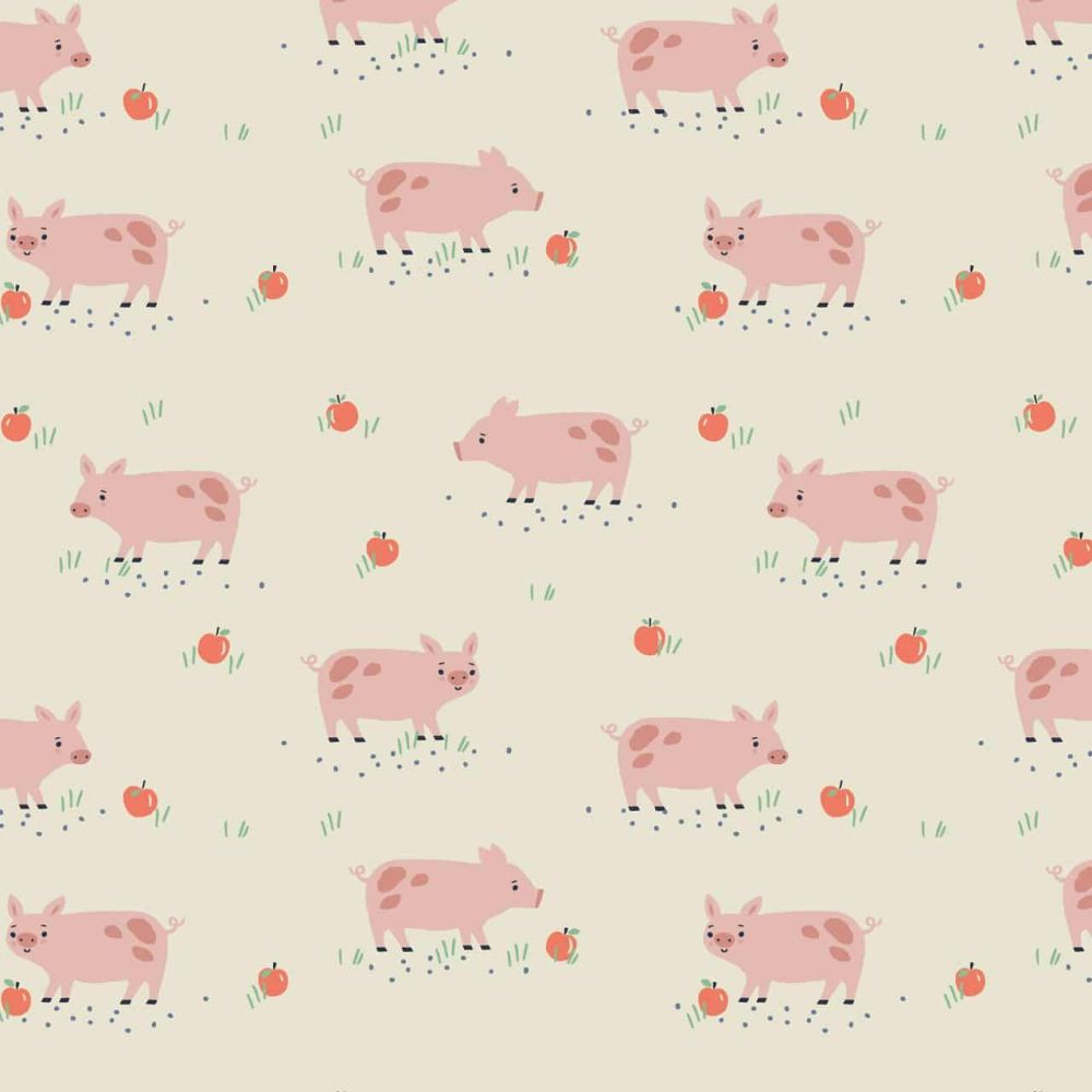 Farm Days Pigs on Cream by Dashwood Studio 100% Cotton
