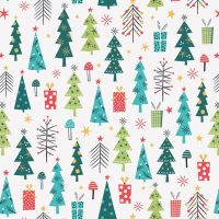 Forest Friends Metallic Christmas Trees Presents White by Dashwood Studio 100% Cotton