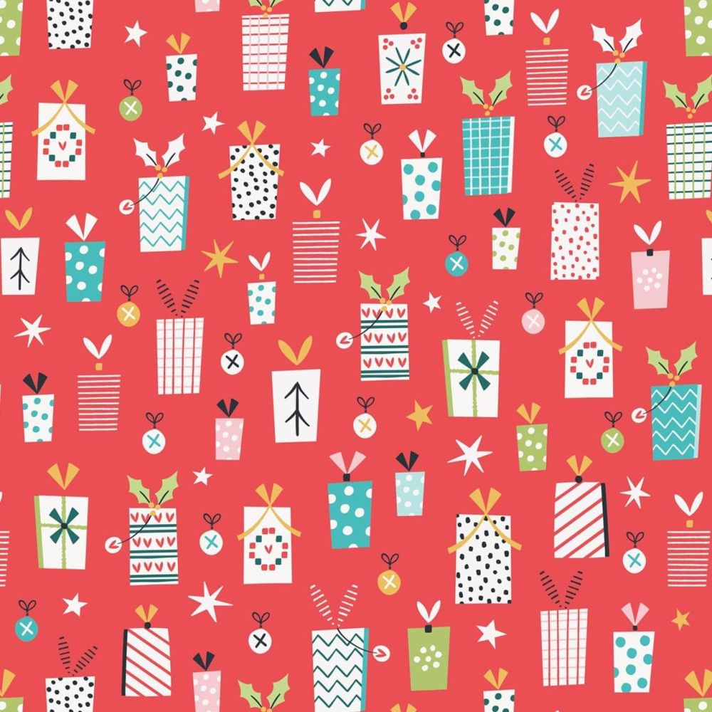 Forest Friends Metallic Christmas Presents Red by Dashwood Studio 100% Cott